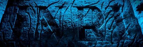Каменное encarving INRI в подземном соборе соли Стоковые Изображения RF