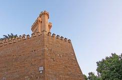 Каменные башни замка дворца Almudaina Стоковые Изображения RF