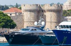 Каменные башни крепости Родоса Стоковые Изображения RF