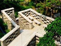 Каменные лестницы на горе Laoshan в Qingdao стоковое изображение