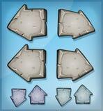 Каменные знаки стрелок для игры Ui иллюстрация вектора