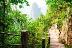 Каменные лестницы водя вдоль гор воплощения крутой скалы Стоковое Фото
