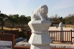 Каменные львы в Южной Корее Сеула Стоковая Фотография
