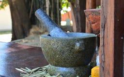 Каменные миномет и пестик Таиланд 2 Стоковое фото RF