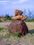 Каменные пирамиды из камней, пункт Nakalele, Мауи, Гаваи Стоковые Фотографии RF