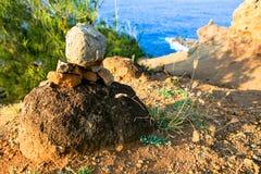 Каменные пирамиды из камней, пункт Nakalele, Мауи, Гаваи Стоковые Фото