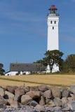 Каменные пляж и маяк Стоковые Фотографии RF