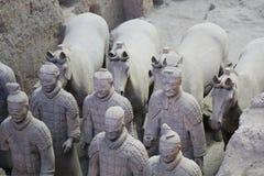 Каменные солдаты армии с статуей лошади, армией терракоты в Xian, Китае Стоковые Фото