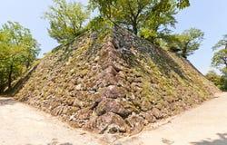 Каменные стены (ishigaki) замка Kochi, городка Kochi, Японии Стоковое Изображение