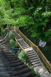 Каменные шаги на горный склон в зелёной весне Стоковые Изображения RF