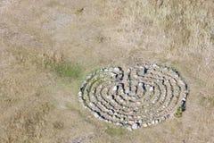 Каменный лабиринт на земле Стоковые Фото