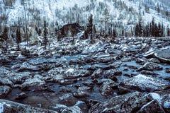 Каменный берег озера Большие камни на речном береге стоковая фотография rf