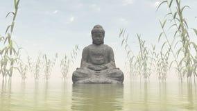 Каменный Будда - 3D представляют Стоковое Фото