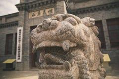 Каменный высекая лев в Китае стоковое фото rf