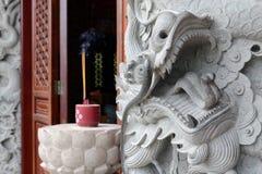 Каменный дракон в монастыре Po Lin, Гонконге Стоковые Изображения RF