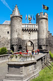 Каменный замок в Антверпене, Бельгии Стоковое Фото