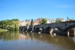 Каменный мост в Pisek, чехии Стоковое Изображение RF