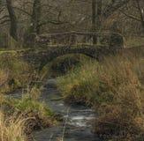 Каменный мост на заводи Bobri в горах Ceske Stredohori в деревне Loucky Стоковая Фотография