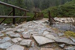Каменный мост над рекой горы в глазе моря Стоковые Изображения RF