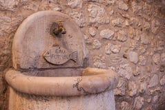 Каменный мраморный washbasin с рыбами стоковое изображение rf