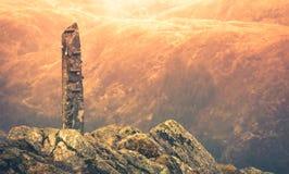 Каменный памятник на саммите держателя Ulriken Стоковое Изображение RF