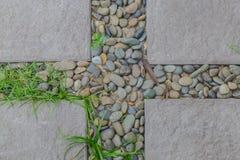 Каменный пол и зеленая трава для дизайна Стоковая Фотография RF