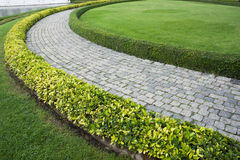 Каменный путь прогулки блока в парке с зеленым g Стоковое Изображение