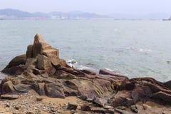 Каменный пляж острова gulangyu Стоковое Изображение RF