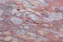 Каменный сляб с картиной в сером, фиолетовый, красный Стоковые Изображения