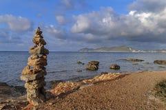 Каменный указатель Ibiza башни, Испания Стоковые Изображения