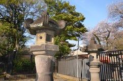 Каменный фонарик святыни Ueno Toshogu на парке Ueno Стоковые Фотографии RF