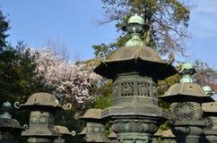 Каменный фонарик святыни Ueno Toshogu на парке Ueno Стоковое Изображение RF