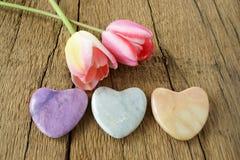 3 каменных сердца и 2 тюльпана Стоковая Фотография
