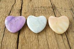 3 каменных сердца Стоковые Изображения