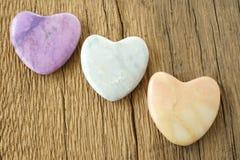 3 каменных сердца Стоковые Изображения RF