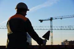 Каменщик рабочий-строителя силуэт Стоковые Фотографии RF