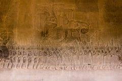 Камень высек на стене Angkor Wat Стоковые Изображения