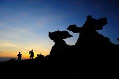 Камень гриба на заходе солнца Стоковые Фото