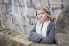 камень девушки крепости балкона старый Стоковое Изображение RF