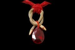 камень красного цвета ожерелья Стоковые Изображения