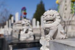 камень льва кладбища Стоковые Изображения RF