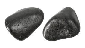 Черные камни изолированные на белой предпосылке Камень массажа для пользы во спа Путь клиппирования стоковая фотография rf