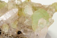 Камень минеральное Prehnite Babingtonite макроса на белой предпосылке стоковые изображения rf
