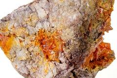 Камень минеральное Wulfenite макроса на белой предпосылке стоковые изображения