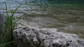 Камень на береге озера, утес Стоковые Изображения RF