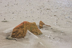 Камень на песке пляжа стоковая фотография
