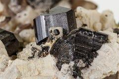 Камень турмалина макроса минеральный на белой предпосылке стоковое изображение rf
