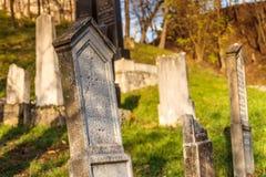 Камень усыпальницы на еврейском кладбище под средневековым замком Beckov Стоковая Фотография