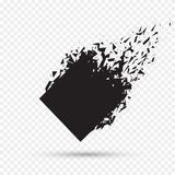 Камень черного квадрата при изолированные твердые частицы Абстрактный черный взрыв Геометрическая иллюстрация Разрушение вектора  Стоковая Фотография RF