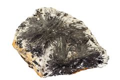 Камень Aegirine макроса в charoite на белой предпосылке стоковое изображение rf